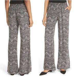 Joie Paisley Wide Leg Silk Pants Hemmed